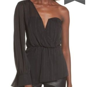 Astr asymmetrical one shoulder black shiny top S